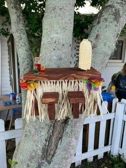 UNIQUE Tiki Bar Squirrel Picnic Table Bird Feeder Happy Hour
