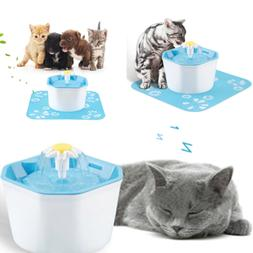 US Pet Water Fountain For Cat Dog Automatic Food Bowl Dish F