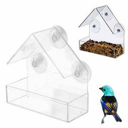US Window Bird Feeder Wild Table Hanging Suction Perspex Cle