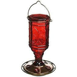 More Birds Hummingbird Feeder Vintage Red Antique Glass Bott