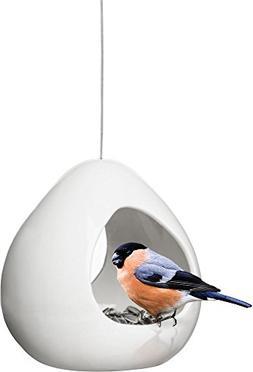 Sagaform Birdy Stoneware Bird Feeder/Candle Holder, White