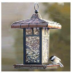 Wicker Square Lantern Bird Feeder