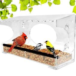 Nature Gear XL Window Bird Feeder - Extended Roof - Steel Pe
