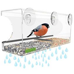 Yardly Noticed Window Bird Feeder with Removable Tray, Drain