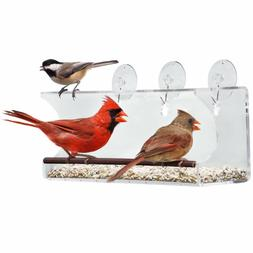 Large Window Bird Feeder: See Through Clear Acrylic Design P