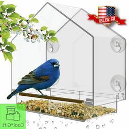 Window Bird Feeder House Outdoor Garden Removable Sliding Tr