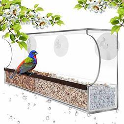 Window Bird Feeder Large Wild Birdfeeder with Drain Holes St