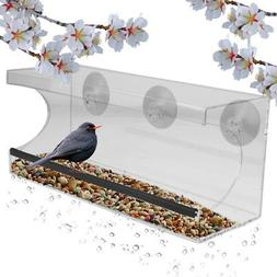 Evelots Window Bird Feeder With Drain Holes and 3 Suction Cu