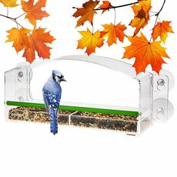 Papagai Window Bird Feeder With Perch For Outside Window, Cl