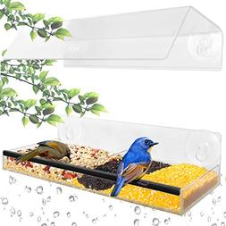 Ohuhu Window Bird Feeder with Strong Suction Cups & Seed Tra