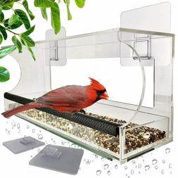 Window Bird Feeders with Removable Tray for Outside, Never F