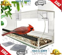 Window Bird Feeders with Sliding Feed Tray for Outside, Neve