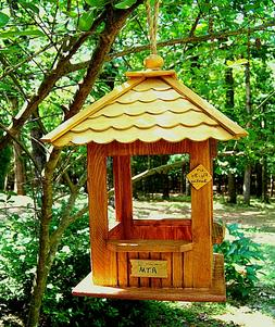 "Wood Hanging Gazebo Bird Feeder ""First Birdie Bank"""