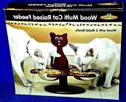Pet Store Wood Multi-Cat Raised Feeder with 3 Metal Bowls