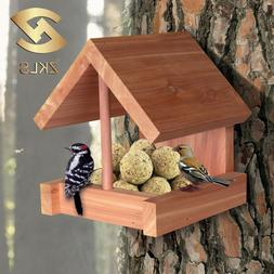 Wooden Chalet Wild Bird Seed Feeder Outdoor Hanging Garden